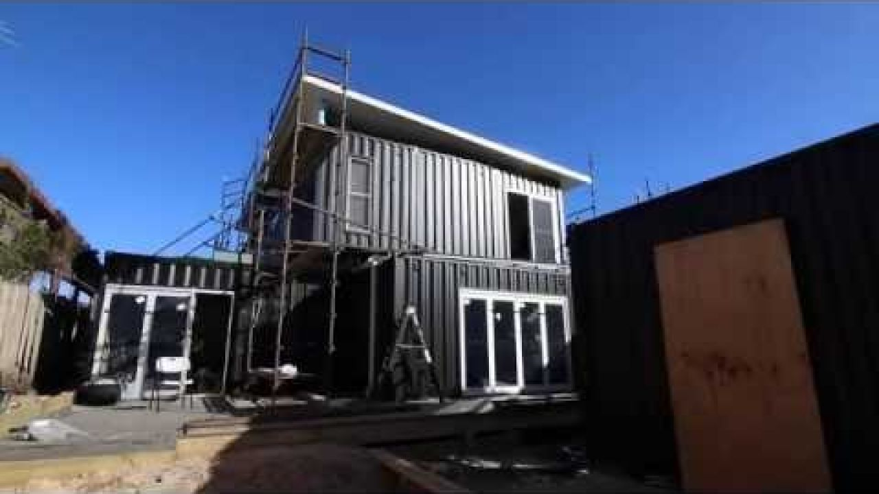 Two story container home install